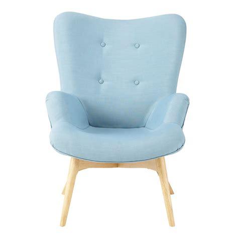 canape sans accoudoir fauteuil vintage en tissu bleu iceberg maisons du monde