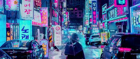 wallpaper  night city street umbrella