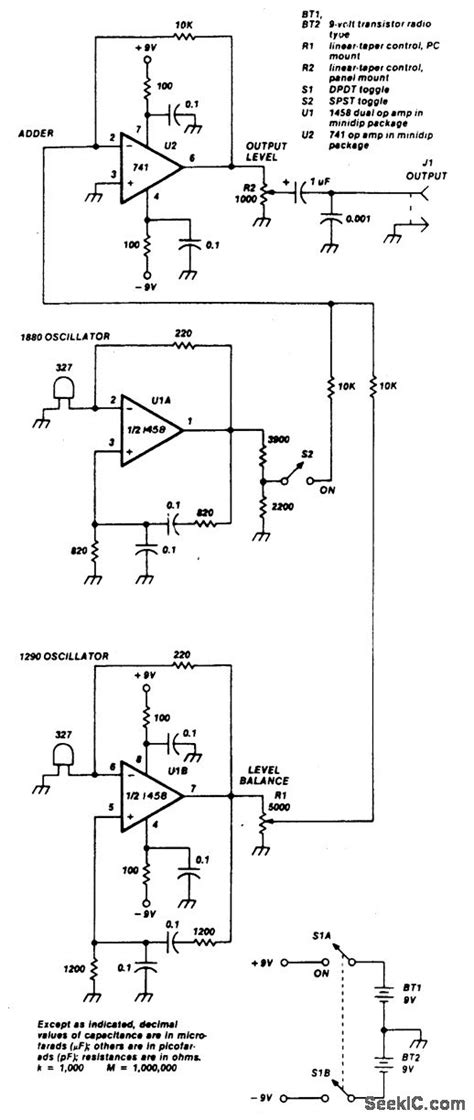 Simple Two Tone Generator Signal Processing Circuit