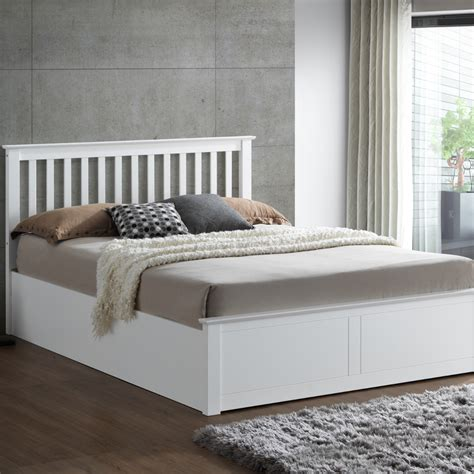 White Ottoman Bed Small by Malmo White Wooden Ottoman Bed