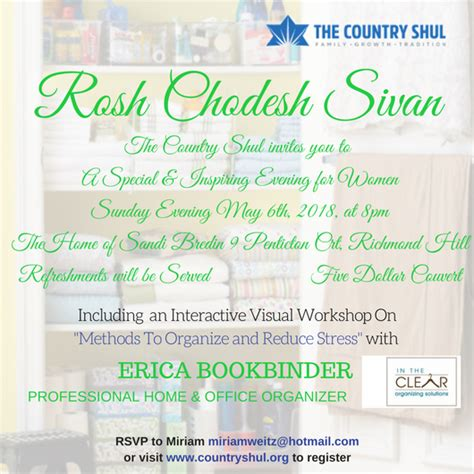 rosh chodesh sivan womens event event  country shul
