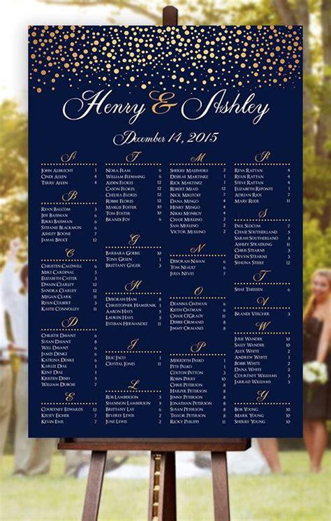 wedding seating chart rush service gold polka dots confetti sprinkle navy wedding seating