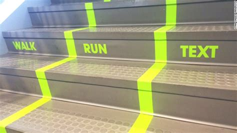 Utah Valley University paints 'text lane' on a staircase