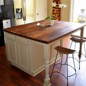 Kitchen, Island, With, Rustic, Walnut, Top, Made, With, Three, Prefab, Oak, Base, Cabinets, And, 3, 4, U0026quot, Walnut