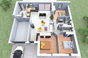 plan maison 90m2 3d With des plans pour maison 5 image maison gauloise