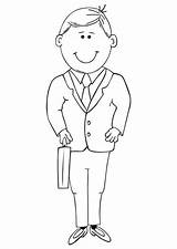 Coloring Suit Man Cartoon Pages Outline Suits Visit Tailor Sheets sketch template