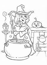 Coloring Halloween Pages Witch Potion Cooking Witches Colouring Making Funschool Procoloring Printable Glinda Painting Happy Netart Days Templates Disney Polyjuice sketch template