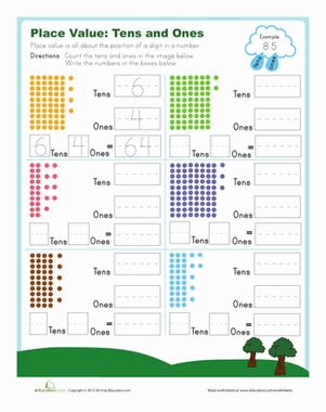 This is one of many exercises we provide emphasizing an understanding of our base ten number system. Tens and Ones | Worksheet | Education.com
