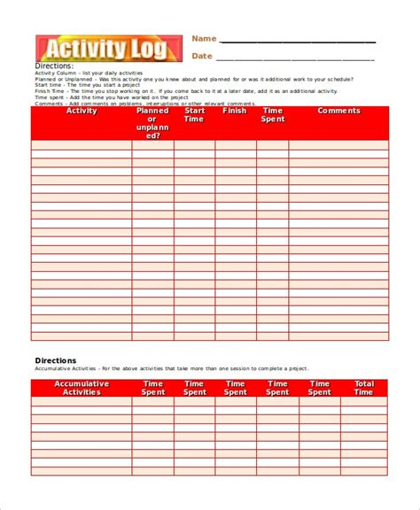 activity log template   word excel