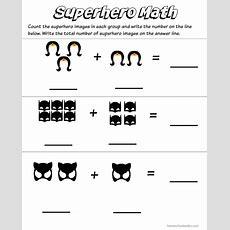 Superhero Math Kindergarten Addition Worksheet Printables  Homeschool Antics