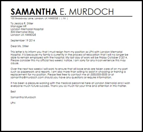 relocation cover letter resignation letter exle due to relocation letter 24264