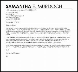 Resignation Letter Example Due To Relocation