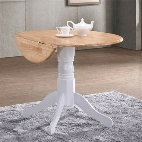 small  pedestal table white drop leaf folding wooden