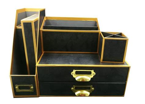 gold desk organizer set oem office supplies eco friendly black and gold rimmed