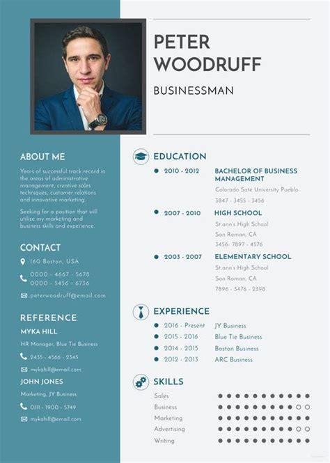 business resume template   word excel