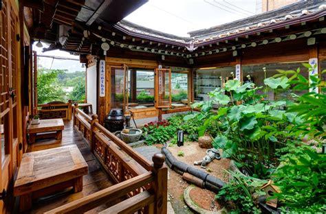 open courtyard garden   breezy traditional tea house