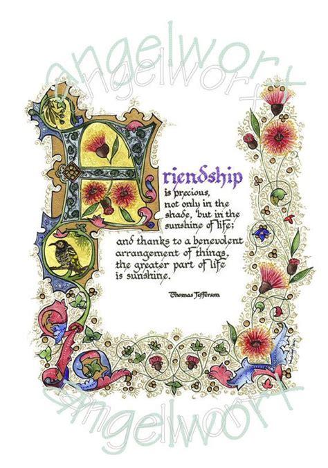 scritte illuminate friendship illuminated calligraphy laminated print nel