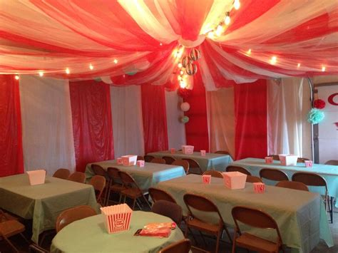 circus tent  garage   tulle  plastic table