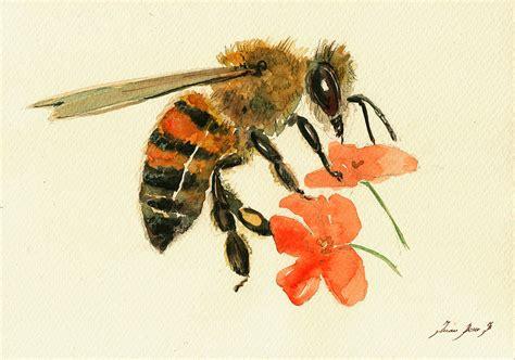 honey bee watercolor painting painting by juan bosco