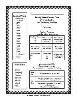 reading 2nd grade spelling vocabulary activities