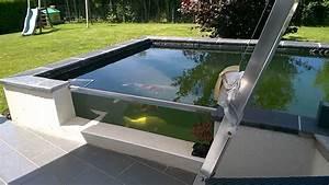bassin a carpe koi type vivier avec vitre youtube With bassin en bois exterieur