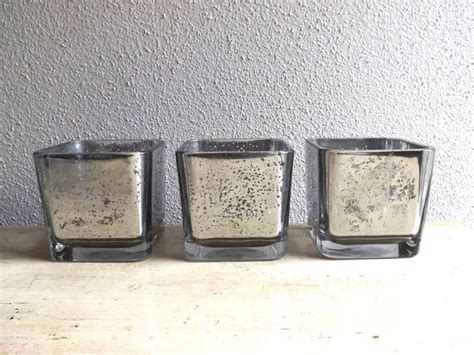 Set Of Square Mercury Glass Vases