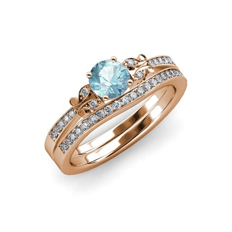 Aquamarine & Diamond Butterfly Engagement Ring & Wedding