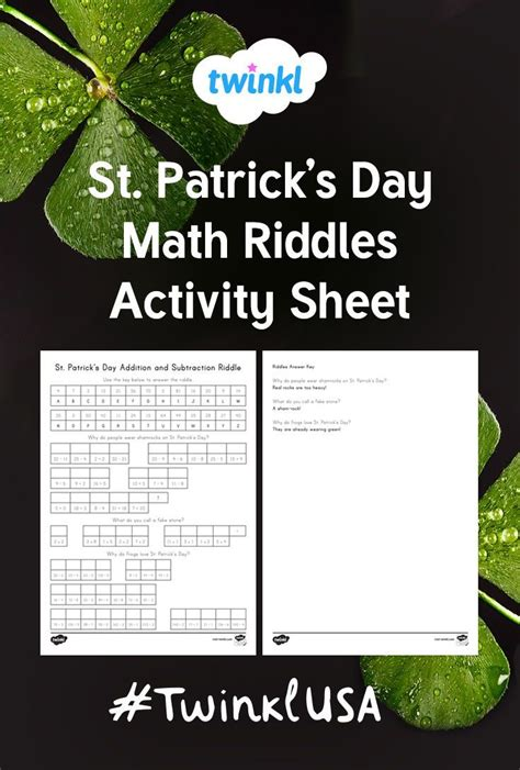 math activity sheet features  fun st patricks day
