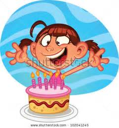 Cartoon Girl with Birthday Cake