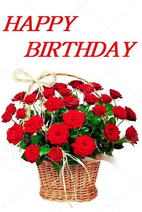 Fiori 🎁 immagini di buon compleanno. Buon compleanno con i fiori rossi delle Rose — Foto Stock © petrdlouhy #82653772