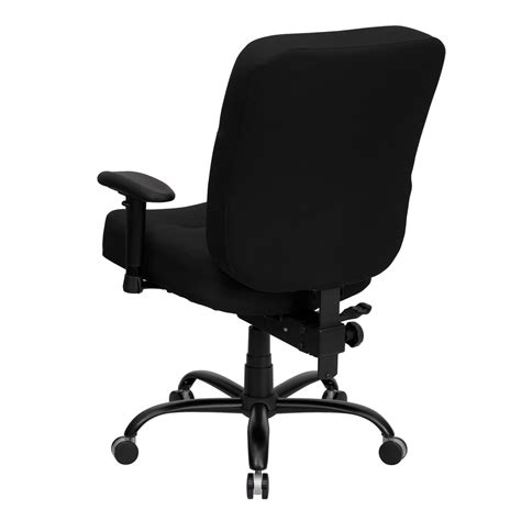 big and black fabric office chair with arms and