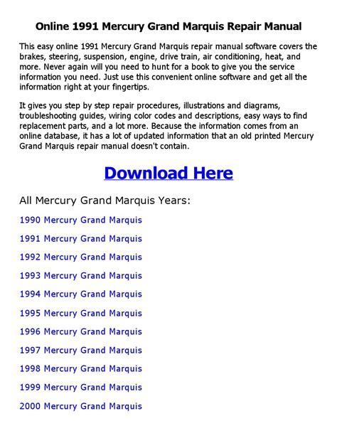 car repair manuals download 1991 mercury grand marquis electronic throttle control 1991 mercury grand marquis repair manual online by ahmed issuu