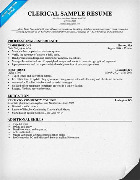 clerical resume sle resumecompanion resume
