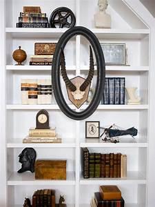 Bookshelf and wall shelf decorating ideas hgtv for Interior design bookshelf arrangement