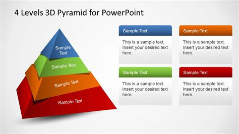 4 Levels 3D Pyramid Template for PowerPoint - SlideModel