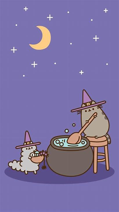 Pusheen Halloween Wallpapers Witch Cat Background Iphone