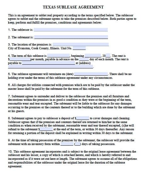 Commercial Sublet Lease Agreement Template by Free Sublease Agreement Form Template Adobe Pdf