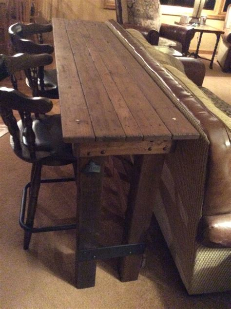 Bar Table I Made For Behind Couch Metal Wood Furniture