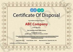 10 items that should be included in a certificate of With certificate of disposal template