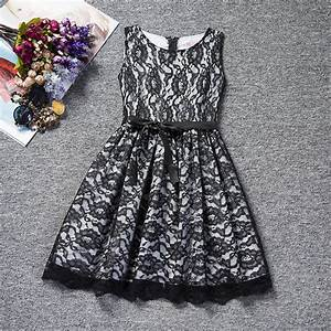 Flower Lace Kids Girls Dress for Wedding Black White ...