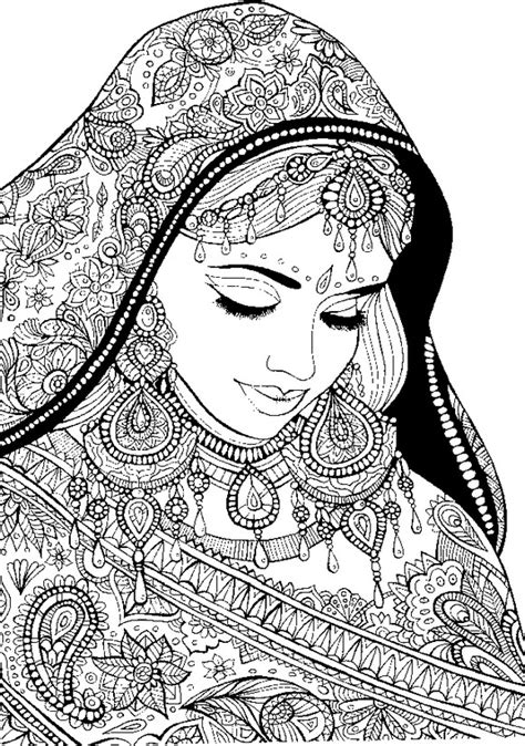 art therapy coloring page arab world arabic woman  festive clothes
