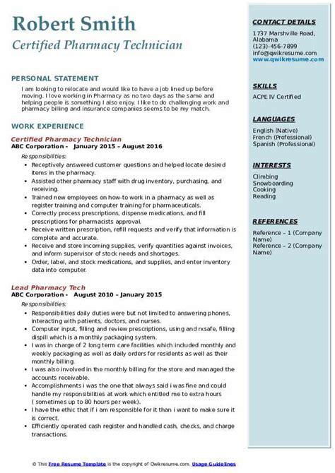 Pharmacy Resumes Pdf by Certified Pharmacy Technician Resume Sles Qwikresume