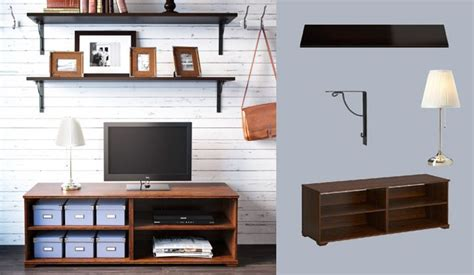 Like The Shelving Ideas For Picture Frames -- BorgsjÖ Brown Tv Bench And Ekby Amund/ekby HÅll