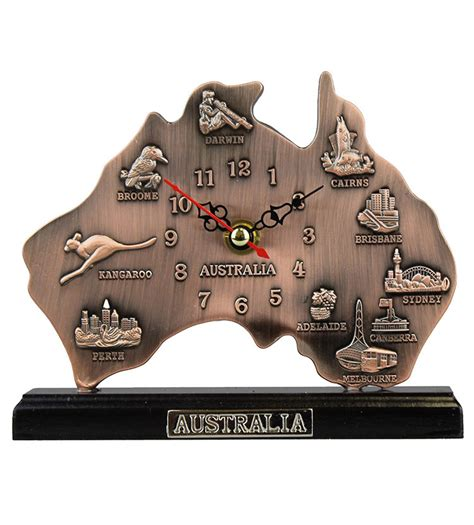 Australia Map Copper Small Clock   Australia The Gift   Souvenirs   T Shirts   Gifts