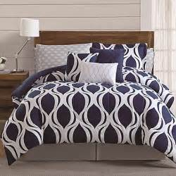 buy sidney 12 piece queen comforter set in navy white from bed bath beyond