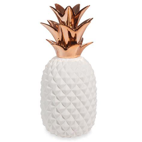 chambre deco mer statue ananas en porcelaine blanche h 40 cm copper