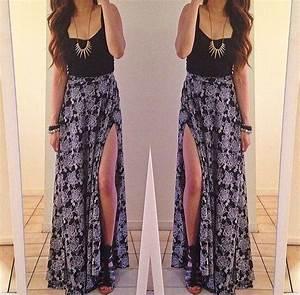 Black crop top and maxi skirt | Fashion | Pinterest ...