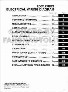 2002 Toyota Prius Wiring Diagram Manual Original