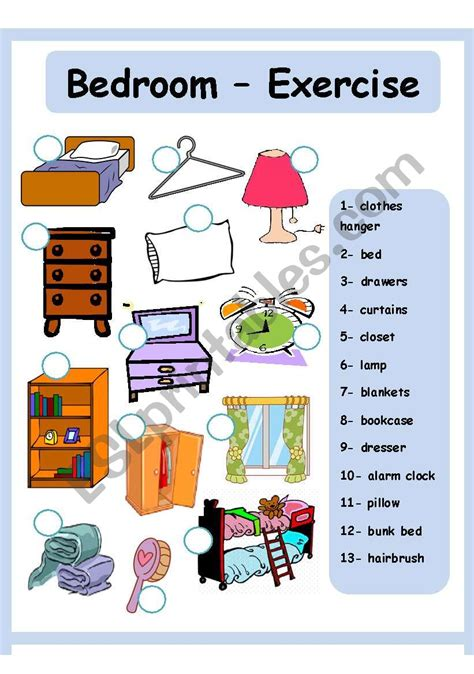 Bedroom Items by Bedroom House Esl Worksheet By Amna 107
