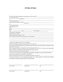 ATV Bill of Sale Form Template